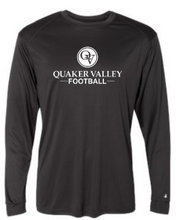 Load image into Gallery viewer, QUAKER VALLEY FOOTBALL -  YOUTH & ADULT PERFORMANCE SOFTLOCK LONG SLEEVE T-SHIRT - GRAPHITE OR BLACK