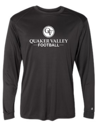 QUAKER VALLEY FOOTBALL -  YOUTH & ADULT PERFORMANCE SOFTLOCK LONG SLEEVE T-SHIRT - GRAPHITE OR BLACK