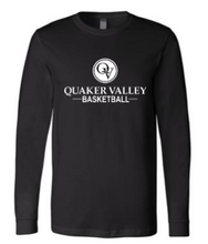 Load image into Gallery viewer, QUAKER VALLEY BASKETBALL YOUTH & ADULT LONG SLEEVE TEE - BLACK OR ATHLETIC GREY