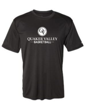 QUAKER VALLEY BASKETBALL YOUTH & ADULT PERFORMANCE SOFTLOCK SHORT SLEEVE TEE - BLACK OR GRAPHITE