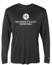 Load image into Gallery viewer, QUAKER VALLEY BASKETBALL -  YOUTH & ADULT PERFORMANCE SOFTLOCK LONG SLEEVE T-SHIRT - GRAPHITE OR BLACK