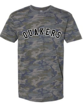 QUAKER VALLEY FOOTBALL VETERANS NIGHT YOUTH & ADULT SHORT SLEEVE CAMO T-SHIRT