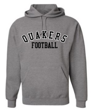 Load image into Gallery viewer, QUAKER VALLEY FOOTBALL YOUTH & ADULT HOODED SWEATSHIRT - BLACK OR OXFORD GRAY