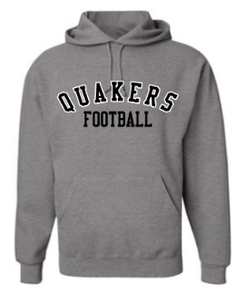 QUAKER VALLEY FOOTBALL YOUTH & ADULT HOODED SWEATSHIRT - BLACK OR OXFORD GRAY