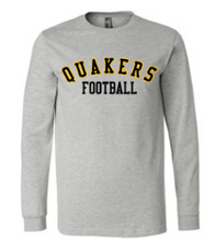 Load image into Gallery viewer, QUAKER VALLEY FOOTBALL YOUTH & ADULT LONG SLEEVE TEE - BLACK OR ATHLETIC GREY