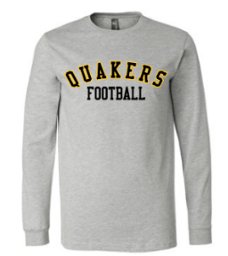 QUAKER VALLEY FOOTBALL YOUTH & ADULT LONG SLEEVE TEE - BLACK OR ATHLETIC GREY