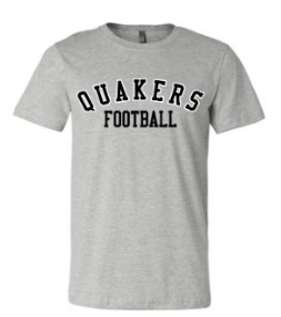 QUAKER VALLEY FOOTBALL TODDLER, YOUTH & ADULT SHORT SLEEVE T-SHIRT - BLACK OR ATHLETIC GRAY