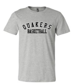 QUAKER VALLEY BASKETBALL TODDLER, YOUTH & ADULT SHORT SLEEVE T-SHIRT - BLACK OR ATHLETIC GRAY