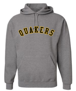 QUAKER VALLEY YOUTH & ADULT HOODED SWEATSHIRT - GREY WITH ARCHED BLACK & GOLD QUAKERS