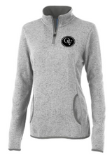 Load image into Gallery viewer, QUAKER VALLEY WOMEN'S EMBROIDERED HEATHERED FLEECE PULLOVER - LIGHT GRAY OR OATMEAL