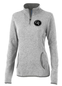 QUAKER VALLEY WOMEN'S EMBROIDERED HEATHERED FLEECE PULLOVER - LIGHT GRAY OR OATMEAL