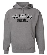 Load image into Gallery viewer, QUAKER VALLEY BASEBALL YOUTH & ADULT HOODED SWEATSHIRT - BLACK OR OXFORD GRAY
