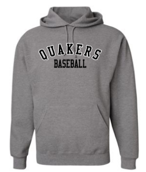 QUAKER VALLEY BASEBALL YOUTH & ADULT HOODED SWEATSHIRT - BLACK OR OXFORD GRAY