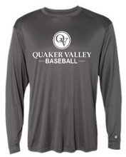 Load image into Gallery viewer, QUAKER VALLEY BASEBALL -  YOUTH & ADULT PERFORMANCE SOFTLOCK LONG SLEEVE T-SHIRT - GRAPHITE OR BLACK