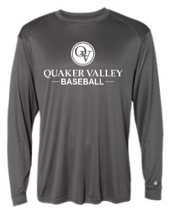 QUAKER VALLEY BASEBALL -  YOUTH & ADULT PERFORMANCE SOFTLOCK LONG SLEEVE T-SHIRT - GRAPHITE OR BLACK