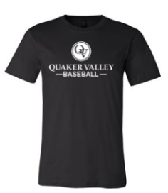QUAKER VALLEY BASEBALL TODDLER, YOUTH & ADULT SHORT SLEEVE T-SHIRT - BLACK OR ATHLETIC GRAY