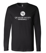 Load image into Gallery viewer, QUAKER VALLEY BASEBALL YOUTH & ADULT LONG SLEEVE TEE - BLACK OR ATHLETIC GREY