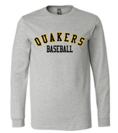 QUAKER VALLEY BASEBALL YOUTH & ADULT LONG SLEEVE TEE - BLACK OR ATHLETIC GREY