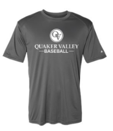 QUAKER VALLEY BASEBALL YOUTH & ADULT PERFORMANCE SOFTLOCK SHORT SLEEVE TEE - BLACK OR GRAPHITE