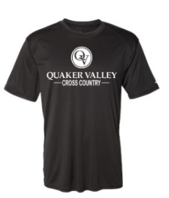 QUAKER VALLEY CROSS COUNTRY YOUTH & ADULT PERFORMANCE SOFTLOCK SHORT SLEEVE TEE - BLACK OR GRAPHITE