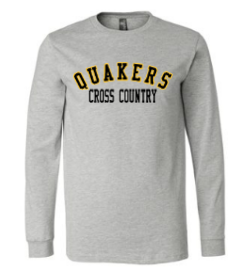 QUAKER VALLEY CROSS COUNTRY YOUTH & ADULT LONG SLEEVE TEE - BLACK OR ATHLETIC GREY