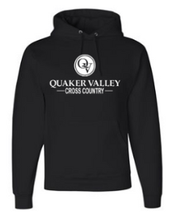 QUAKER VALLEY CROSS COUNTRY YOUTH & ADULT HOODED SWEATSHIRT - BLACK OR OXFORD GRAY