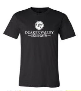 QUAKER VALLEY CROSS COUNTRY TODDLER, YOUTH & ADULT SHORT SLEEVE T-SHIRT - BLACK OR ATHLETIC GRAY