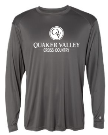 QUAKER VALLEY CROSS COUNTRY -  YOUTH & ADULT PERFORMANCE SOFTLOCK LONG SLEEVE T-SHIRT - GRAPHITE OR BLACK