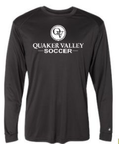 QUAKER VALLEY SOCCER -  YOUTH & ADULT PERFORMANCE SOFTLOCK LONG SLEEVE T-SHIRT - GRAPHITE OR BLACK