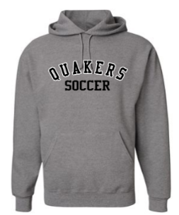 QUAKER VALLEY SOCCER YOUTH & ADULT HOODED SWEATSHIRT - BLACK OR OXFORD GRAY