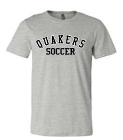 QUAKER VALLEY SOCCER TODDLER, YOUTH & ADULT SHORT SLEEVE T-SHIRT - BLACK OR ATHLETIC GRAY