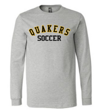 Load image into Gallery viewer, QUAKER VALLEY SOCCER YOUTH & ADULT LONG SLEEVE TEE - BLACK OR ATHLETIC GREY