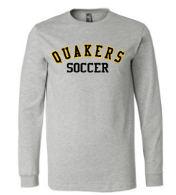 QUAKER VALLEY SOCCER YOUTH & ADULT LONG SLEEVE TEE - BLACK OR ATHLETIC GREY