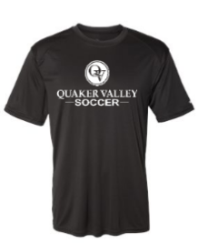 QUAKER VALLEY SOCCER YOUTH & ADULT PERFORMANCE SOFTLOCK SHORT SLEEVE TEE - BLACK OR GRAPHITE