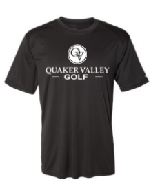 QUAKER VALLEY GOLF YOUTH & ADULT PERFORMANCE SOFTLOCK SHORT SLEEVE TEE - BLACK OR GRAPHITE
