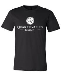 QUAKER VALLEY GOLF TODDLER, YOUTH & ADULT SHORT SLEEVE T-SHIRT - BLACK OR ATHLETIC GRAY