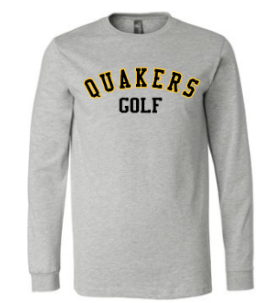 QUAKER VALLEY GOLF YOUTH & ADULT LONG SLEEVE TEE - BLACK OR ATHLETIC GREY