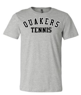 QUAKER VALLEY TENNIS TODDLER, YOUTH & ADULT SHORT SLEEVE T-SHIRT - BLACK OR ATHLETIC GRAY