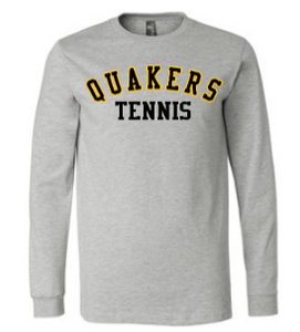 QUAKER VALLEY TENNIS YOUTH & ADULT LONG SLEEVE TEE - BLACK OR ATHLETIC GREY