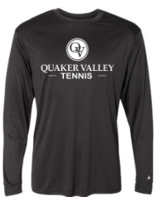 QUAKER VALLEY TENNIS -  YOUTH & ADULT PERFORMANCE SOFTLOCK LONG SLEEVE T-SHIRT - GRAPHITE OR BLACK