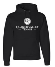 Load image into Gallery viewer, QUAKER VALLEY TENNIS YOUTH & ADULT HOODED SWEATSHIRT - BLACK OR OXFORD GRAY