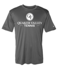 QUAKER VALLEY TENNIS YOUTH & ADULT PERFORMANCE SOFTLOCK SHORT SLEEVE TEE - BLACK OR GRAPHITE