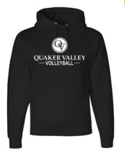 Load image into Gallery viewer, QUAKER VALLEY VOLLEYBALL YOUTH & ADULT HOODED SWEATSHIRT - BLACK OR OXFORD GRAY