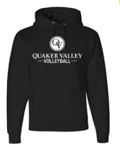 QUAKER VALLEY VOLLEYBALL YOUTH & ADULT HOODED SWEATSHIRT - BLACK OR OXFORD GRAY