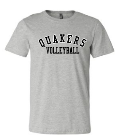 QUAKER VALLEY VOLLEYBALL TODDLER, YOUTH & ADULT SHORT SLEEVE T-SHIRT - BLACK OR ATHLETIC GRAY