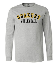 QUAKER VALLEY VOLLEYBALL YOUTH & ADULT LONG SLEEVE TEE - BLACK OR ATHLETIC GREY