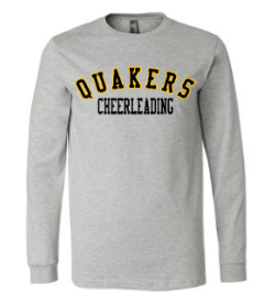 QUAKER VALLEY CHEER YOUTH & ADULT LONG SLEEVE TEE - BLACK OR ATHLETIC GREY