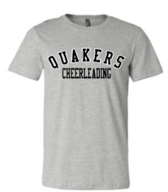 QUAKER VALLEY CHEER TODDLER, YOUTH & ADULT SHORT SLEEVE T-SHIRT - BLACK OR ATHLETIC GRAY