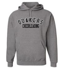 Load image into Gallery viewer, QUAKER VALLEY CHEER YOUTH & ADULT HOODED SWEATSHIRT - BLACK OR OXFORD GRAY