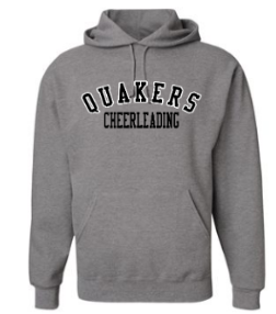 QUAKER VALLEY CHEER YOUTH & ADULT HOODED SWEATSHIRT - BLACK OR OXFORD GRAY